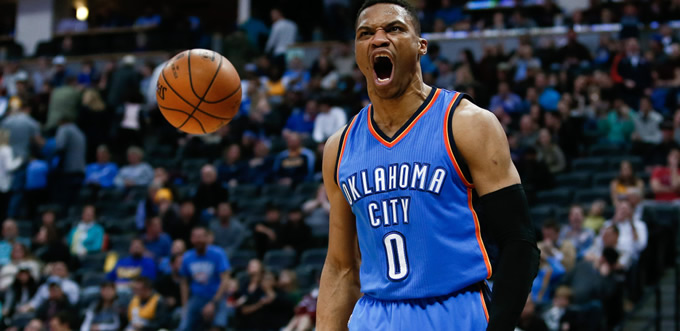 Russell Westbrook'tan 15. 'triple-double'